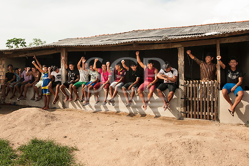 Pará State, Brazil. Kayapó students of the Komomoyea Kovoero Indigenous Secondary School in the Aldeia Indigena Kuxonety Pokee, a Terena village in the Gleba Iriri Indigenous Territory.