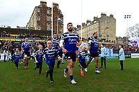 Nathan Catt of Bath Rugby mascot in hand runs out onto the field. Gallagher Premiership match, between Bath Rugby and Harlequins on March 2, 2019 at the Recreation Ground in Bath, England. Photo by: Patrick Khachfe / Onside Images