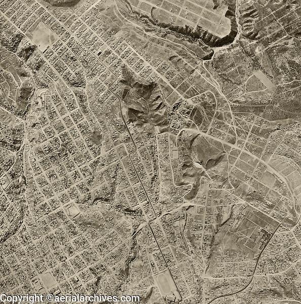historical aerial photograph Tijuana, Baja, Mexico, 1962