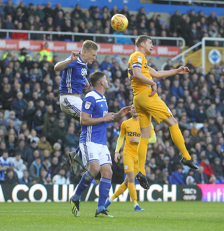 Preston North End's Paul Huntington gets a header on goal<br /> <br /> Photographer Mick Walker/CameraSport<br /> <br /> The EFL Sky Bet Championship - Birmingham City v Preston North End - Saturday 1st December 2018 - St Andrew's - Birmingham<br /> <br /> World Copyright &copy; 2018 CameraSport. All rights reserved. 43 Linden Ave. Countesthorpe. Leicester. England. LE8 5PG - Tel: +44 (0) 116 277 4147 - admin@camerasport.com - www.camerasport.com