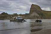 Fishing boat being launched at Castlepoint.