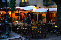 Cafe Moderne on a town square at night. Montpellier. Languedoc. France. Europe.
