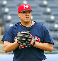 23 April 2007: Matt Esquivel of the Mississippi Braves, the Atlanta Braves' Class AA affiliate of the Southern League, in a game against the Birmingham Barons at Trustmark Park in Pearl, Miss. Photo by:  Tom Priddy/Four Seam Images