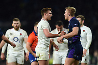 Henry Slade of England speaks with Chris Harris of Scotland after the match. Guinness Six Nations match between England and Scotland on March 16, 2019 at Twickenham Stadium in London, England. Photo by: Patrick Khachfe / Onside Images