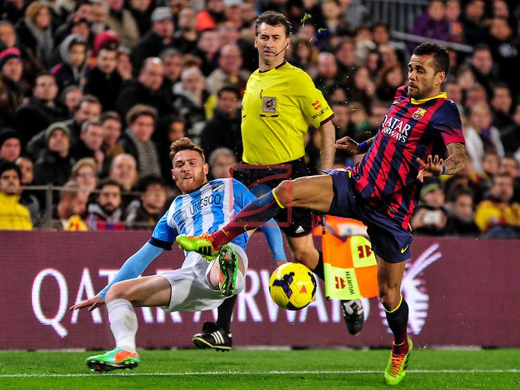 League BBVA 2013/2014 - Game: 21.<br /> FC Barcelona vs Malaga CF: 3-0.<br /> Antunes vs Dani Alves.
