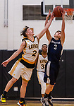WATERBURY, CT. 09 January 2020-010920BS205 - Kaynor Tech's Scott Dalesio (2), left, and Wolcott Tech's Jacob Fogarty (3), battle for control of the ball, during a Boy Basketball game between Wolcott Tech and Kaynor Tech at Kaynor Tech in Waterbury on Thursday. Bill Shettle Republican-American
