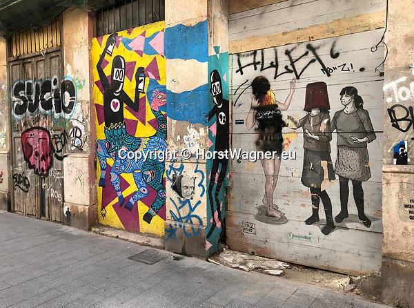 Valencia-Spain, January 08, 2018; <br /> street art / graffiti by i.a. David de Lim&oacute;n (Limon);<br /> Photo &copy; HorstWagner.eu