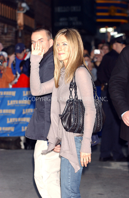 WWW.ACEPIXS.COM . . . . . ....November 7 2005, New York City....Jennifer Aniston at The Late Show with David Letterman. ....Please byline: AJ Sokalner - ACE PICTURES..... *** ***..Ace Pictures, Inc:  ..Philip Vaughan (212) 243-8787 or (646) 769 0430..e-mail: info@acepixs.com..web: http://www.acepixs.com