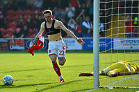 Fleetwood Town's Ashley Hunter celebrates scoring his side's first goal <br /> <br /> Photographer Richard Martin-Roberts/CameraSport<br /> <br /> The EFL Sky Bet League One - Fleetwood Town v Peterborough United - Friday 19th April 2019 - Highbury Stadium - Fleetwood<br /> <br /> World Copyright © 2019 CameraSport. All rights reserved. 43 Linden Ave. Countesthorpe. Leicester. England. LE8 5PG - Tel: +44 (0) 116 277 4147 - admin@camerasport.com - www.camerasport.com
