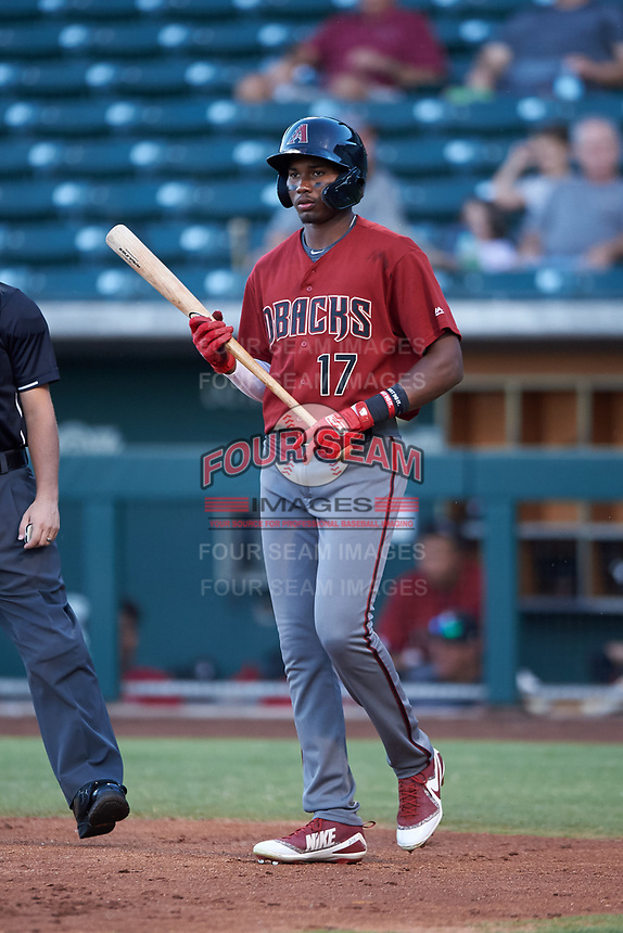 AZL Dbacks Neyfy Castillo (17) at bat during an Arizona League game against the AZL Cubs 2 on June 25, 2019 at Sloan Park in Mesa, Arizona. AZL Cubs 2 defeated the AZL Dbacks 4-0. (Zachary Lucy/Four Seam Images)