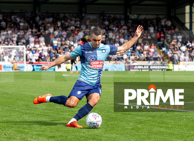 Matt Bloomfield of Wycombe Wanderers during the Sky Bet League 1 match between Wycombe Wanderers and Bolton Wanderers at Adams Park, High Wycombe, England on the 3rd August 2019. Photo by Liam McAvoy.