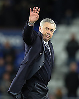 11th January 2020; Goodison Park, Liverpool, Merseyside, England; English Premier League Football, Everton versus Brighton and Hove Albion; Everton Manager Carlo Ancelotti  waves to fans in the Gwladys Street end as the match ends in a 1-0 Everton victory - Strictly Editorial Use Only. No use with unauthorized audio, video, data, fixture lists, club/league logos or 'live' services. Online in-match use limited to 120 images, no video emulation. No use in betting, games or single club/league/player publications