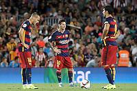 FC Barcelona's Sandro Ramirez (l), Leo Messi (c) and Luis Suarez dejected during Supercup of Spain 2nd match.August 17,2015. (ALTERPHOTOS/Acero)