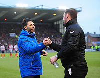 Lincoln City manager Danny Cowley, left, and Notts County manager Kevin Nolan shake hands before kick off<br /> <br /> Photographer Chris Vaughan/CameraSport<br /> <br /> The EFL Sky Bet League Two - Lincoln City v Notts County - Saturday 13th January 2018 - Sincil Bank - Lincoln<br /> <br /> World Copyright &copy; 2018 CameraSport. All rights reserved. 43 Linden Ave. Countesthorpe. Leicester. England. LE8 5PG - Tel: +44 (0) 116 277 4147 - admin@camerasport.com - www.camerasport.com