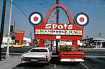 Sign for Spots Hamburgers in downtown Los Angeles, CA Feb 1978