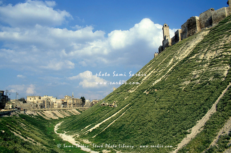 Fortified citadel atop a hill, Aleppo, Syria.