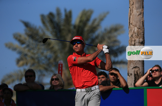 Rafa Cabrera-Bello (ESP) hits consecutive rounds of 67 during Round Three of the 2016 Omega Dubai Desert Classic, played on the Emirates Golf Club, Dubai, United Arab Emirates.  06/02/2016. Picture: Golffile | David Lloyd<br /> <br /> All photos usage must carry mandatory copyright credit (&copy; Golffile | David Lloyd)