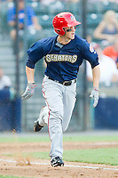 Bryce Harper #34 of the Harrisburg Senators hustles down the first base line against the Richmond Flying Squirrels in game one of a double-header at The Diamond on July 22, 2011 in Richmond, Virginia.  The Squirrels defeated the Senators 3-1.   (Brian Westerholt / Four Seam Images)