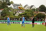 11.08.2019, Salmtalstadion, Salmrohr, GER, DFB-Pokal, 1. Runde FSV Salmrohr vs Holsteinm Kiel<br /> <br /> DFB REGULATIONS PROHIBIT ANY USE OF PHOTOGRAPHS AS IMAGE SEQUENCES AND/OR QUASI-VIDEO.<br /> <br /> im Bild / picture shows<br /> <br /> ADAC Hubschrauber landet auf der Wiese neben dem Salmtalstadion<br /> <br /> Foto © nordphoto / Schwarz