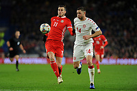 Gareth Bale of Wales battles with Henrik Dalsgaard of Denmark during the UFEA Nations League B match between Wales and Denmark at The Cardiff City Stadium in Cardiff, Wales, UK. Friday 16 November 2018