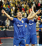 Ugra Yugorsk's Ivan Signev celebrates the victory in the UEFA Futsal Cup 2015/2016 Semifinal match. April 22,2016. (ALTERPHOTOS/Acero)