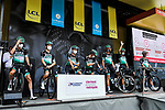Bora-Hansgrohe at the Team Presentation before the start of Stage 1 of Criterium du Dauphine 2020, running 218.5km from Clermont-Ferrand to Saint-Christo-en-Jarez, France. 12th August 2020.<br /> Picture: ASO/Alex Broadway | Cyclefile<br /> All photos usage must carry mandatory copyright credit (© Cyclefile | ASO/Alex Broadway)