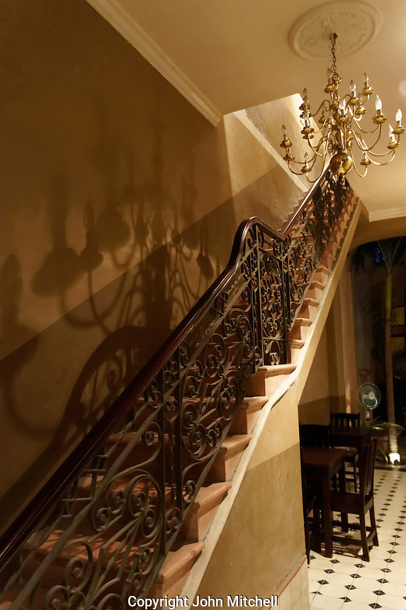 Interior staircase at the Casa Frederick Catherwood in Merida, Yucatan, Mexico.