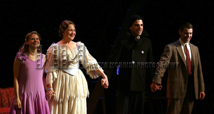 Celia Keenan-Bolger, Cherry Jones, Zachary Quinto and Brian J. Smith during the Broadway Opening Night Curtain Call for 'The Glass Menagerie' at the Booth Theater on September 26, 2013 in New York City.