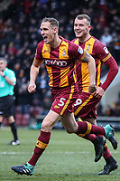 Matt Kilgallon (5) of Bradford City celebrates scoring the first goal with Charlie Wyke of the game for Bradford City during the Sky Bet League 1 match between Bradford City and Rochdale at the Northern Commercial Stadium, Bradford, England on 9 December 2017. Photo by Thomas Gadd.