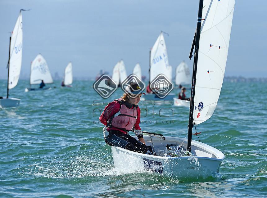 Optimist / Alexander HIGGINS (AUS)<br /> 2013 ISAF Sailing World Cup - Melbourne<br /> Sail Melbourne - The Asia Pacific Regatta<br /> Sandringham Yacht Club, Victoria<br /> December 1st - 8th 2013<br /> &copy; Sport the library / Jeff Crow
