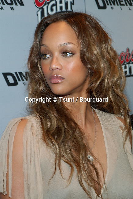 Tyra Banks arriving at the Halloween Resurrection premiere at the Mann Festival Theatre in Los Angeles. July 1st 2002.