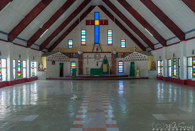 Interior of a village church on the remote island of Kiritimati in Kiribati