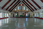 Interior of a village church on the remote island of Kiritimati in Kiribati