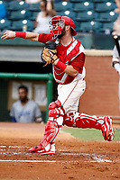Chattanooga Lookouts catcher Mitchell Kranson (35) throws down to second base in the game against the Pensacola Blue Wahoo on July 27, 2018 at AT&T Field in Chattanooga, Tennessee. (Andy Mitchell/Four Seam Images)