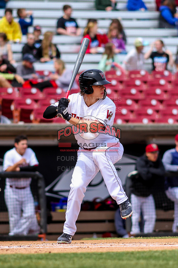 Wisconsin Timber Rattlers outfielder Zach Clark (7) at bat during a Midwest League game against the Clinton LumberKings on April 26, 2018 at Fox Cities Stadium in Appleton, Wisconsin. Clinton defeated Wisconsin 7-3. (Brad Krause/Four Seam Images)