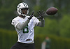 KD Cannon #8, New York Jets wide receiver, makes a catch during the first day of offseason training activity at the Atlantic Health Jets Training Center in Florham Park, NJ on Tuesday, May 23, 2017.