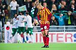 Stockholm 2014-09-21 Fotboll Superettan Hammarby IF - Syrianska FC :  <br /> Syrianskas Alexander Michel deppar efter Hammarbys Pablo Pinones-Arce 1-0 m&aring;l<br /> (Foto: Kenta J&ouml;nsson) Nyckelord:  Superettan Tele2 Arena Hammarby HIF Bajen Syrianska FC SFC depp besviken besvikelse sorg ledsen deppig nedst&auml;md uppgiven sad disappointment disappointed dejected