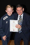 St Johnstone FC Academy Awards Night...06.04.15  Perth Concert Hall<br /> Chairman Steve Brown presents a certificate to Luke Graham<br /> Picture by Graeme Hart.<br /> Copyright Perthshire Picture Agency<br /> Tel: 01738 623350  Mobile: 07990 594431