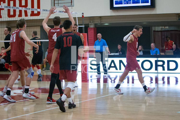 STANFORD, CA - December 30, 2017: Kyler Presho, Leo Henken, Eric Beatty, Evan Enriques, Jaylen Jasper, Russell Dervay at Burnham Pavilion. The Stanford Cardinal defeated the Calgary Dinos 3-1.
