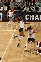 3 December 2005: Foluke Akinradewo during Stanford's 3-1 loss to Santa Clara University at Maples Pavilion in Stanford, CA.
