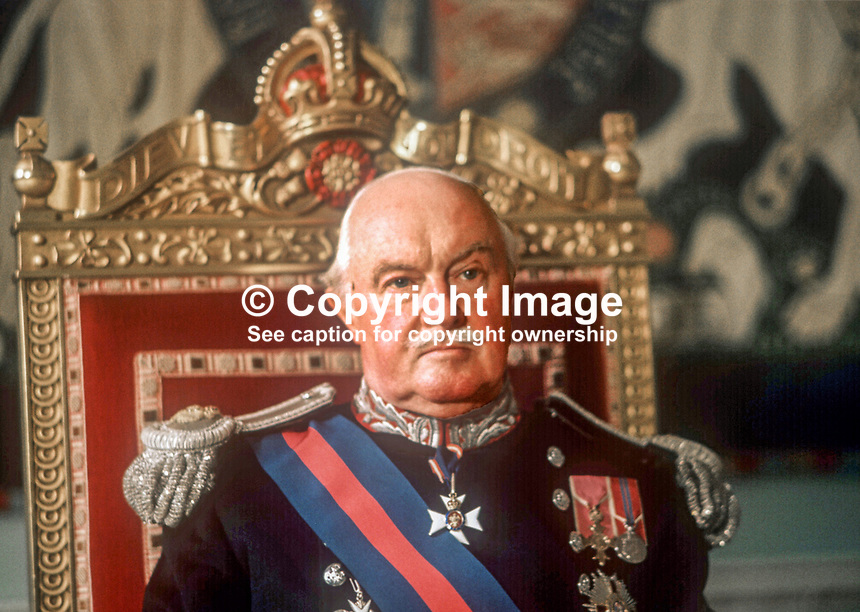 Lord Grey of Naunton, last Governor of N Ireland, in ceremonial uniform, pictured, Government House, Hillsborough, May 1973. 197305000319a<br />