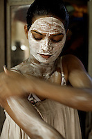 Skin bleaching is a huge part of the womens' beauty regime. The lighter skinned girls get a higher price from clients.