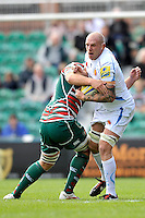 Aviva Premiership. Leicester, England. James Scaysbrook of Exeter Chiefs tackled during the Aviva Premiership match between Leicester Tigers and Exeter Chiefs at Welford Road on September 29. 2012 in Leicester, England.