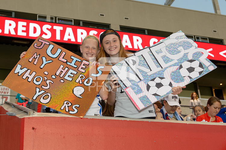 Chicago, IL - Saturday Sept. 24, 2016: Chicago Red Stars fans prior to a regular season National Women's Soccer League (NWSL) match between the Chicago Red Stars and the Washington Spirit at Toyota Park.