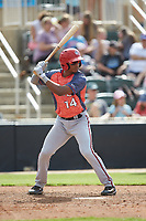 Jeyner Baez (14) of the Hagerstown Suns at bat against the Kannapolis Intimidators at Kannapolis Intimidators Stadium on May 6, 2018 in Kannapolis, North Carolina. The Intimidators defeated the Suns 4-3. (Brian Westerholt/Four Seam Images)
