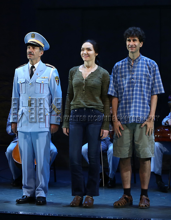 Samson Gabay joins Katrina Lenk and John Cariani with the the cast of 'The Band's Visit'  at the Barrymore Theatre on June 27, 2018 in New York City.