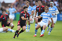 Lasha Malaguradze of Georgia in possession. Rugby World Cup Pool C match between Argentina and Georgia on September 25, 2015 at Kingsholm Stadium in Gloucester, England. Photo by: Patrick Khachfe / Onside Images