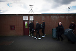 Edinburgh City players and backroom staff arrive at Gayfield Park for the away fixture against Arbroath. The newly-promoted side from the Capital were looking to secure their place in SPFL League 2 after promotion from the Lowland League the previous season. They won the match 1-0 with an injury time goal watched by 775 spectators to keep them 4 points clear of bottom spot with three further games to play.