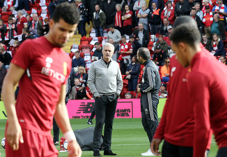 Manchester United manager Jose Mourinho watches the Liverpool players during the pre-match warm-up <br /> <br /> Photographer Rich Linley/CameraSport<br /> <br /> The Premier League - Liverpool v Manchester United - Saturday 14th October 2017 - Anfield - Liverpool<br /> <br /> World Copyright &copy; 2017 CameraSport. All rights reserved. 43 Linden Ave. Countesthorpe. Leicester. England. LE8 5PG - Tel: +44 (0) 116 277 4147 - admin@camerasport.com - www.camerasport.com