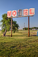 Old motel sign in Groom Texas on route 66.